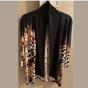 Frank Lyman Open Front Jacket, Leopard Print sz 16